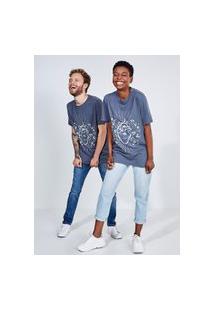 Camiseta Manga Curta Estampa Coração