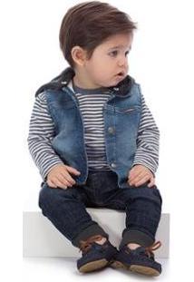 Colete Jeans Bebê Up Baby Masculino - Masculino-Azul Escuro