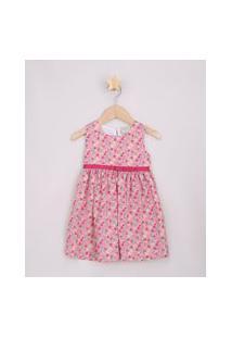 Vestido Infantil Estampado Floral Com Laço Sem Manga Rosa