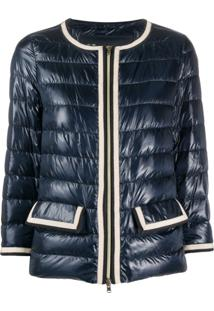 Herno Contrast-Trim Collarless Down Jacket - Azul