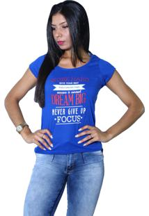 Camiseta Heide Ribeiro Work Hard Give Your Best Azul Royal