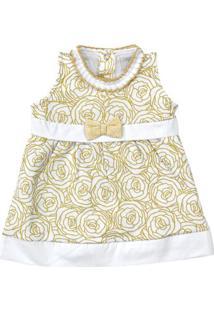 Vestido Sem Manga - Estampa Douradas - 100% Algodão - Branco - Tilly Baby - Gg