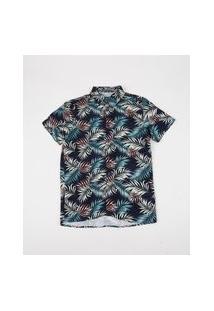 Camisa Juvenil Estampada De Folhagens Manga Curta Azul Marinho