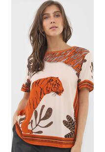 Camiseta Forum Estampada Bege/Laranja - Kanui