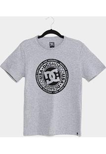 Camiseta Juvenil Dc Shoes Circle Star Masculina - Masculino-Cinza