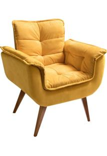 Poltrona Decorativa Opalla Ii Suede Amarelo