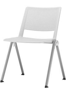 Cadeira Up Assento Branco Base Fixa Cinza - 54324 Sun House