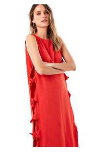 Vestido Nós Linho Vermelho Jambo