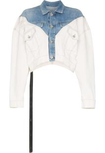Unravel Project Jaqueta Jeans Cropped - Azul