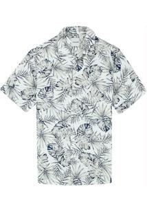 Camisa Branco Tradicional Folhagem