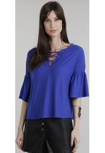 Blusa Texturizada Com Lace Up Azul Royal