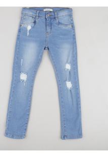 Calça Jeans Infantil Destroyed Azul Médio