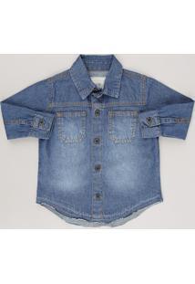 Camisa Jeans Infantil Com Bolsos Barra Desfiada Manga Longa Azul Escuro