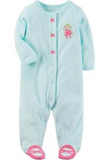 04ab3246a67983 Pijama Bebê Manga Longa Carters Com Pezinho Monkey Feminina - Feminino-Azul