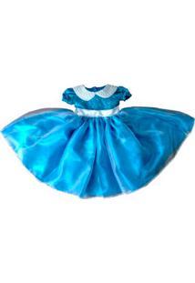 Vestido Infantil Com Detalhe De Pérolas Liminha Doce Azul