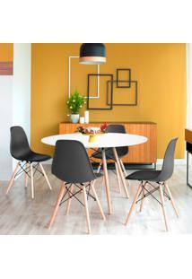 Conjunto De Mesa De Jantar Com 4 Cadeiras Eames Eiffel Premium I Branco E Preto