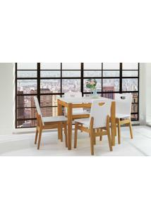 Conjunto De Mesa De Jantar Com 4 Cadeiras Tucupi 80Cm - Acabamento Stain Nozes E Laca Branco