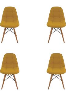 Kit 4 Peças Cadeira Eames Eiffel Rivatti Sem Braço Botonê Amarela