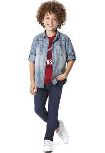 Camisa Jeans Xadrez Menino Malwee Kids