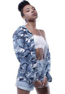 Jaqueta Sarja Camuflada Pop Me Feminina - Feminino-Azul
