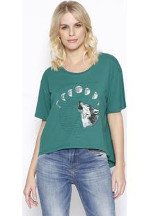 """Camiseta """"Fases Da Lua"""" - Verde & Off White - Sommersommer"""