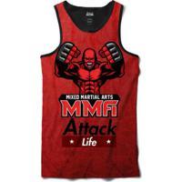 Camiseta Regata Attack Life Lutas E Musculação Lutador Mma Sublimada  Masculina - Masculino-Vermelho 1d6131787a9