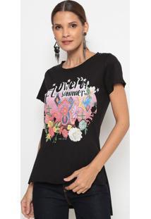 """Camiseta """"Flower Of Summer""""- Preta- Coca-Colacoca-Cola"""
