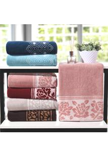Kit Toalha De Banho Elegance Rosa - 4 Un