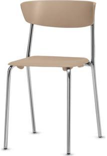 Cadeira Bit Assento Bege Base Cromada - 53669 - Sun House