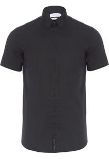 Camisa Masculina Vista Embutida - Preto