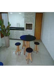 Conjunto De Mesa 90Cm Com 4 Banquetas Rubi De Madeira Antígua Com Assento Estofado Azul Cestari