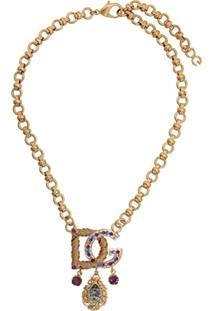 Dolce & Gabbana Colar Com Aplicações E Logo - Dourado