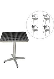 Conjunto Mesa Com 4 Cadeiras Em Alumínio Para Jardim Mor - Unissex