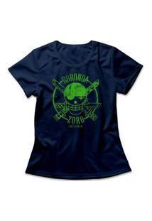 Camiseta Feminina One Piece Roronoa Zoro Logo Azul Marinho