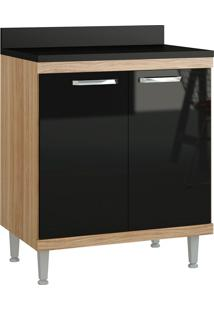 Armário De Cozinha Sicília Para Cooktop 2 Portas Argila/Preto - Multimóveis