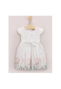 Vestido Infantil Estampado De Borboletas Com Faixa Para Amarrar Branco