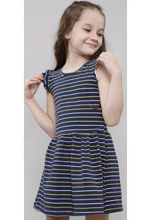 Vestido Infantil Listrado Sem Manga Decote Redondo Azul Marinho