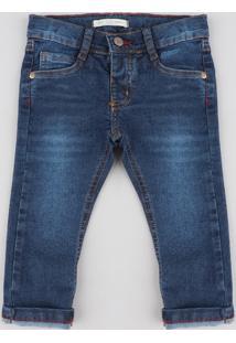 Calça Jeans Infantil Slim Com Bolsos Azul Escuro