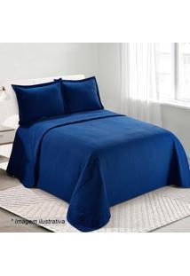 Conjunto De Colcha Loft Queen Size- Azul Escuro- 3Pã§Camesa