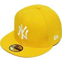 151b13586 Boné New Era Aba Reta Fechado Mlb Ny Yankees Basic - Unissex-Amarelo