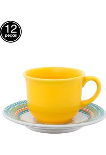 Conjunto Xicaras Café 12Pçs Floreal Bilro Branco