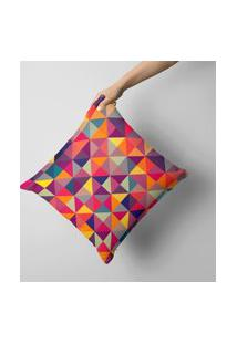 Capa De Almofada Avulsa Decorativa Multi Triangulos Colors 35X35Cm.