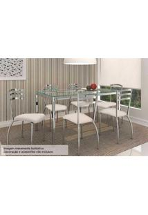 Sala De Jantar Kappesberg Reno 150Cm+6 Cadeiras Cromada/Nude