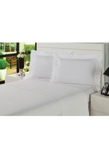 Jogo De Lençol Premium Caress King Branco Percal 233 Fios