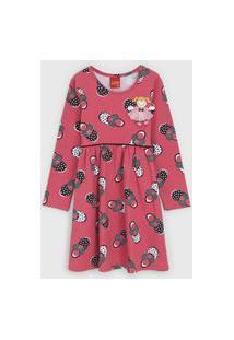 Vestido Kyly Infantil Estampado Rosa