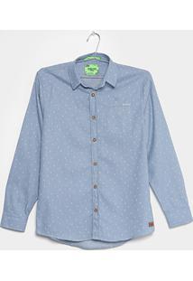 Camisa Infantil Colcci Fun Slim Mini Âncoras Menino - Masculino-Azul