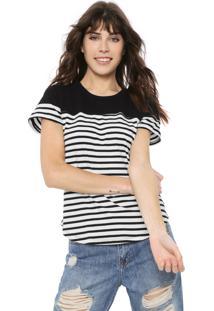 Camiseta Coca-Cola Jeans Listrada Preta/Branca