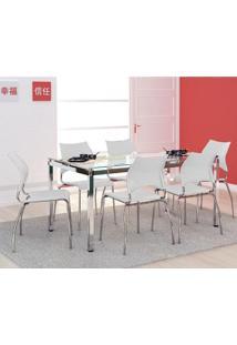 Mesa 328 Vidro Incolor Cromada Com 6 Cadeiras 357 Branca Carraro