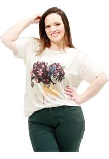 Camiseta Mulher Caveira Plus Size Bege