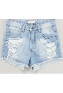 Short Jeans Infantil Destroyed Azul Claro